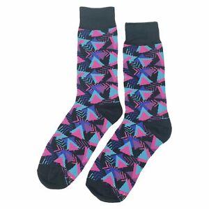 NWT Funky 90's Dress Socks Novelty Men 8-12 Black Fun Sockfly