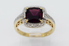 14K Yellow Gold Lady Ring with Red Cushion Shape Almandite Stone & Diamonds