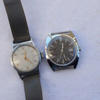 LOT 2 Vintage Men's Watches Wristwatches Timex Automatic Westclox Wind Up LOOK