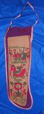 """Huge 1940'S Vtg E Rosen Xmas Stocking; Woven Cotton Mesh 21"""" Cardboard Insert"""