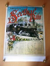 Seethal-Bahn Fahrplan 1903 Luzern Vintage Swiss Train Timetable Travel Poster