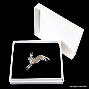 Leaping Hare Rabbit Pewter Pin Brooch in Gift Box - Handcrafted Bunny Present