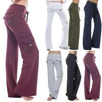 Women Cargo Pants Yoga Gym Loose Pockets Trousers Sport Running Stretch Leggings