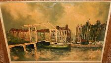 "GERARD PIED ""THE MEAGRE BRIDGE"" ORIGINAL OIL ON CANVAS PAINTING HOLLAND"