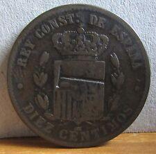 1878 Spain 10 Centimos Coin Counter Struck