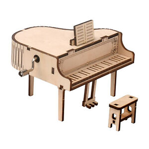 DIY 3D Wooden Puzzles Assembling Piano Music Box Funny Toy Collectibles