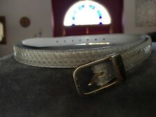Vtg 70s 80s Grat Snake Skin Leather Belt Gold Hardware Boho Glam Chic L 43� long