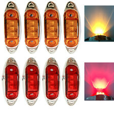 4 Red+4 Amber Waterproof 12V Side Marker Lights Clearance Lamp Trailer 3 LED NEW