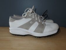 Boy's FootJoy Junior GJ White Gray Golf Shoes 45053 Lace-Up - Size 5 M - Used/GC