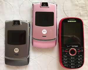Phone Lot Parts Motorola V3 Razr Silver And Pink And Samsung Intensity Verizon