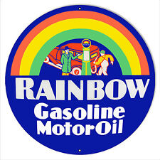 "Rainbow Motor Oil Reproduction Sign 24""x24"" Round"