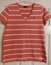 Women's Ralph Lauren Sport V-Neck Shirt Size L Short Sleeve Womens Coral Colored