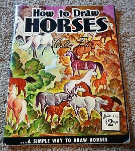 VINTAGE WALTER T FOSTER HOW TO DRAW HORSES ART BOOK 70's