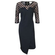 NEW THREADS LADIES BLACK MESH SPOTTY NECKLINE PARTY WRAP DRESS SIZE UK 22