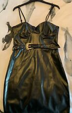 Parisian Black Faux Leather Belted Bodycon Dress Size 10 Brand New With Tags