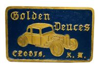 Vintage Car Club Plaque - Golden Deuces Clovis, New Mexico - Chicago Metal Craft