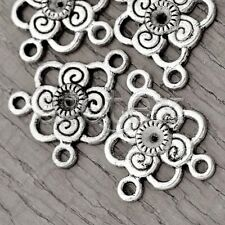 40pcs Tibetan Silver Connector Jewellery Flower 20x17x2.5mm