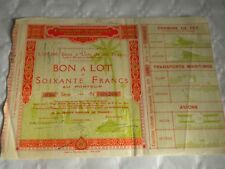 Vintage share certificate Stock Bonds Exposition Coloniale international 1931