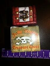 Mini Treasure Chest Jolly Roger Wood Jewelry Storage Trinket Box Case