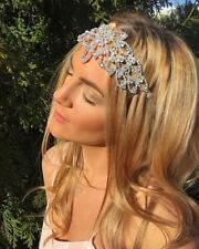 Silver Diamond Crystal Forehead Hair Head Band Choochie Choo Gatsby Boho Bride