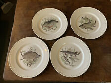 Lot Set 4 Villeroy Boch Fish Dinner Plates Trout Luxembourg 9.5""