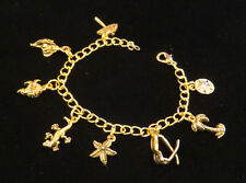 Beach Charm Bracelet 24 Karat Gold Plate 7 or 8 Sea Shell Palm Tree Sunglasses +