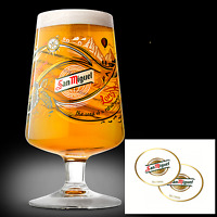 San Miguel One Pint Chalice Glass LIMITED RELEASE 2017 + Beer Mat Birthday