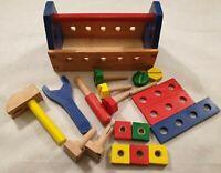 Melissa & Doug Wooden Tool Kit Wooden Tool Box Hammer Screwdriver Spanner Bolts