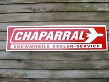 "c.1970 STYLE CHAPARRAL SNOWMOBILE DEALER/SERVICE SIGN/AD 1'X46"" W/JET/BIRD LOGO"