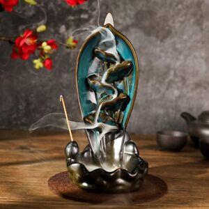 Green Lotus Ceramic Backflow Waterfall Smoke Incense Burner Censer Decorations
