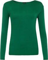 New Womens Plain Tshirt Ladies Long Sleeve Scoop Neck T Shirt Top Rnck