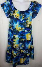 Winnie Fashion Dress Size M Hawaiian Muu Muu House Gown Blue Yellow Print