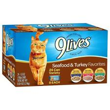 24 Variety Pack 9 Lives Turkey & Seafood Favorites Wet Cat Food Healthy Feline