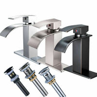 Bathroom Basin Faucet Waterfall Sink Mixer Tap With Cover Plate Single Lever
