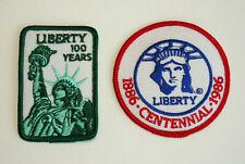 2 Vtg 1986 Statue of Liberty 100 Years Centennial Park Ranger Patch New NOS