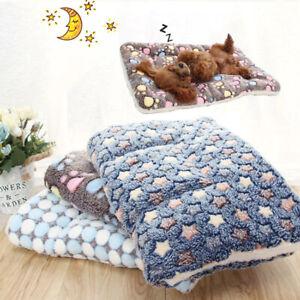 Cat Dog Cushion Puppy Pet Mat Blanket Fleece Winter Bed Small Warm Paw Print Pad