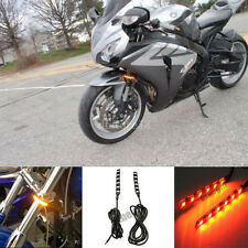 2x Universal Motorcycle fender LED Turn Signal Lights Indicator fork Grill Lamp