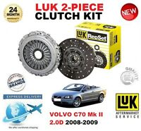 FOR VOLVO C70 II 2.0 D CONVERTIBLE 2008-2009 CLUTCH KIT LUK 2 PIECE EO QUALITY