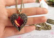 2015 Vintage Women Red Rhinestone Peach Heart Wing Pendant Necklace Chain  GO CA