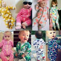Newborn Baby Infant Boy Girl Long Sleeve Cotton Romper Jumpsuit Bodysuit Outfits