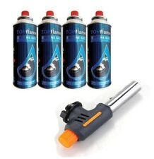 Blow Torch 4 Butane Gas Cans One Touch Auto Ignition Soldering BBQ Burner Lamp