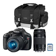NEW Canon T3 12.2MP Digital SLR Double Zoom 2 Lens Kit 18-55mm 75-300mm, bag/sd