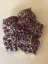 Vintage Monet Ruby Red Rhinestone Flower Brooch Pin - Gold Tone