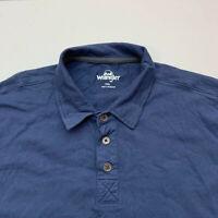 Wrangler Polo Shirt Mens XXL 2XL Blue Short Sleeve Casual