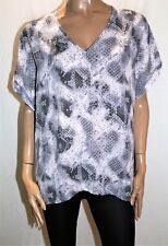 CROSSROADS Brand Grey Reptile Print Drape Drop Sleeve Blouse Size 18 BNWT #TA14