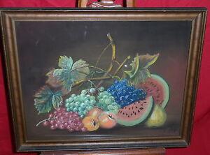 Framed Oil & Pastel Fruit Still Life - J.R. Watp Bucks Bucks County PA