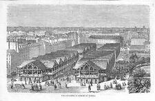 PARIS  LE MARCHE DU TEMPLE GRAVURE ILLUSTRATION 1863