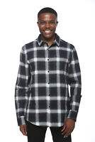 Elevani Men's Long Sleeve Regular Fit Casual Checkered Navy Shirt