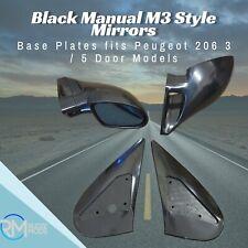 Noir Manuel M3 Style Mirrors /& Base Plaques Fits BMW E46 4 portes Modèles