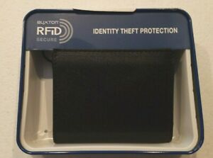 NWT Slim Buxton Bifold Black Textured Front  Rfid Card Holder